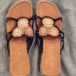A. Marinnelli sandals, weave or straw, new, 9.5